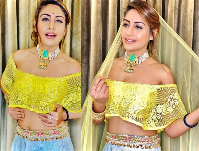 Surbhi Chandna   s sizzling avatar in a beautiful shimmery lehenga and crop top