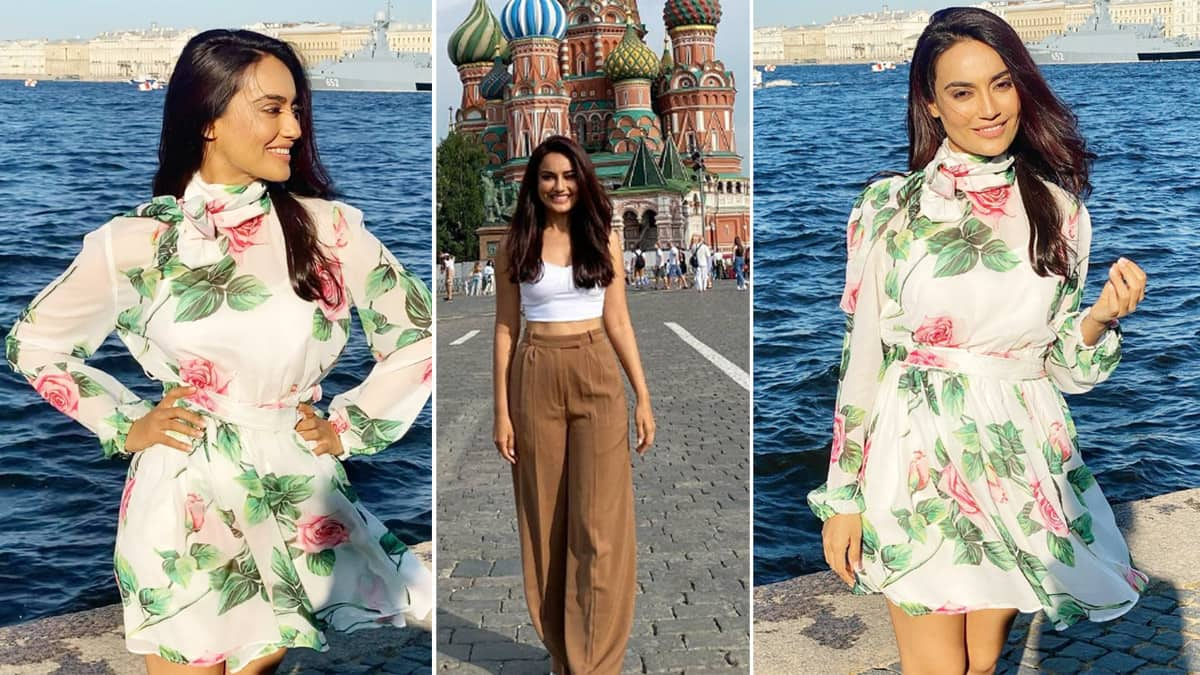Surbhi Jyoti Gets Baked In Sun In Floral Sheer White Dress In Moscow