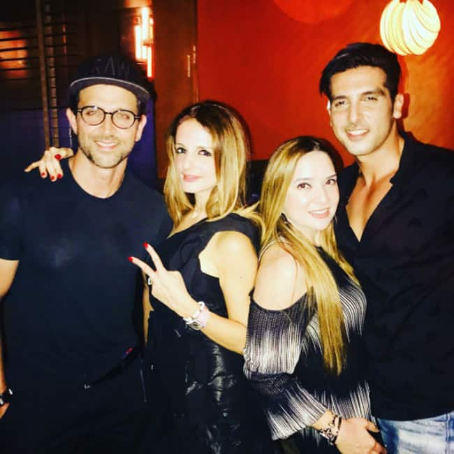 Sussanne Khan with Hrithik Roshan during her birthday party