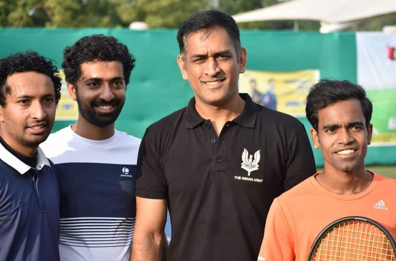 T shirt dedicated to Indian Army  MS Dhoni Plays Tennis in Ranchi
