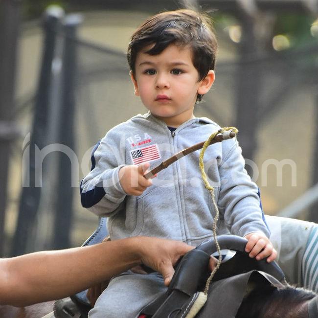 Taimur Ali Khan learns horse riding