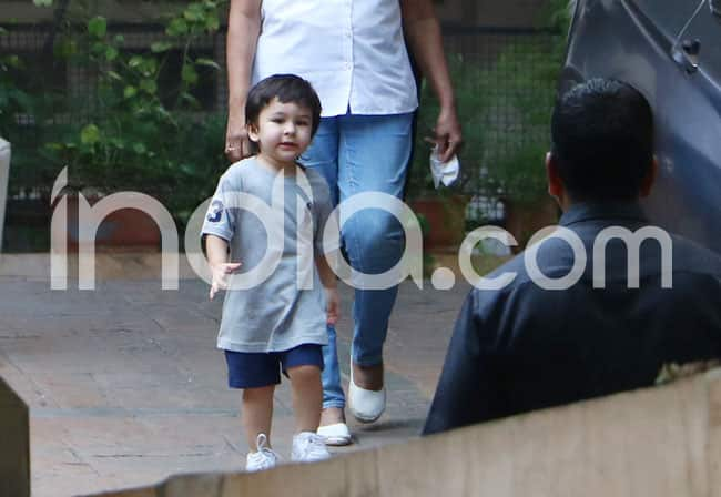Taimur Ali Khan Looks Cutely Adorable as He Steps Out of The House With His Nanny