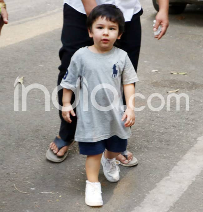 Taimur Ali Khan Spotted in Grey Tee And Blue Shorts