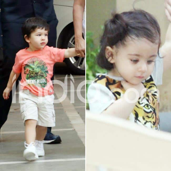 Taimur and Inaaya spotted outside their playschool