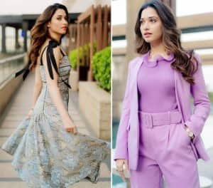 Tamannaah Bhatia's Mesmerising Pictures in a Fitzgerald Dress And Lavender Pantsuit Are Worth Making Headlines