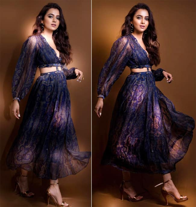 Tejasswi Prakash Looks Like A Diva In A Blue Flowy Cut Out Dress