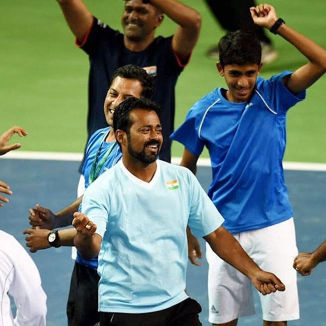 Tennis player Leander Paes dancing post winning Davis Cup in Pune