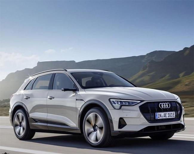 The e tron looks similar to Audi   s current Q range of SUVs