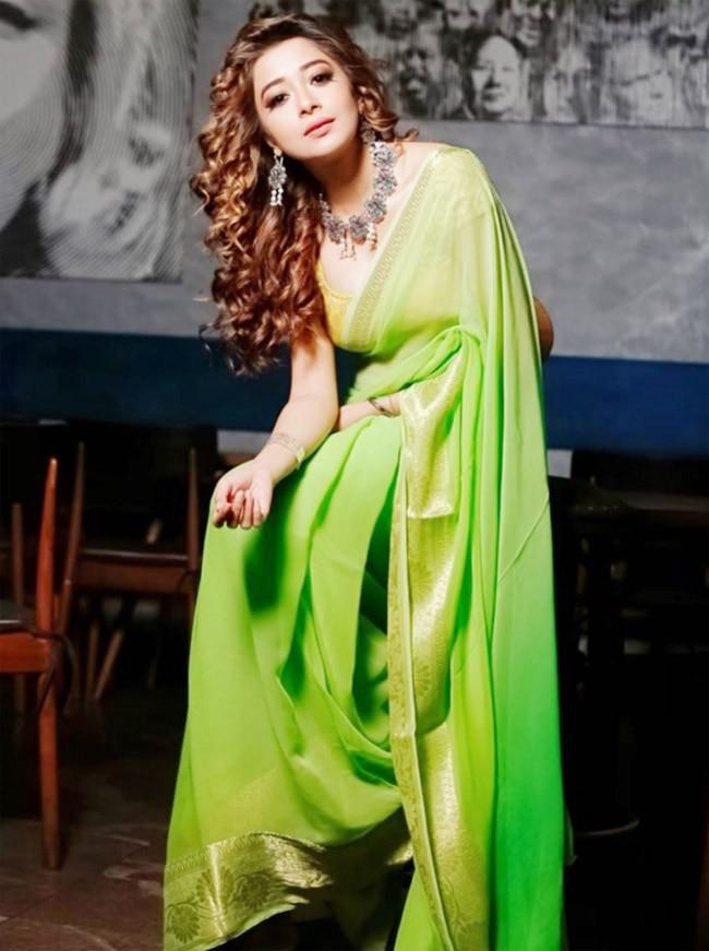 Tina Datta in green saree