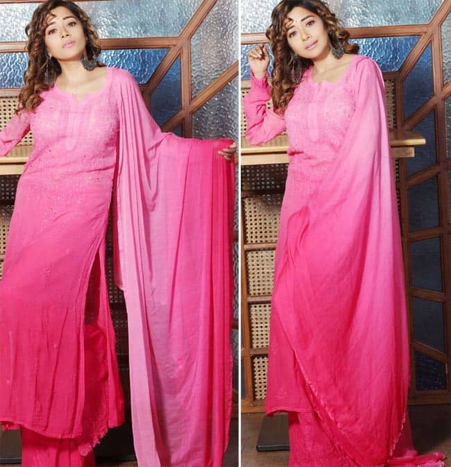 Tina Datta looked beautiful in a pink chikankari salwar kameez