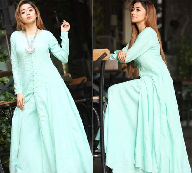 Tina Datta loves wearing Indian clothes and her latest pic in a blue gown is pretty