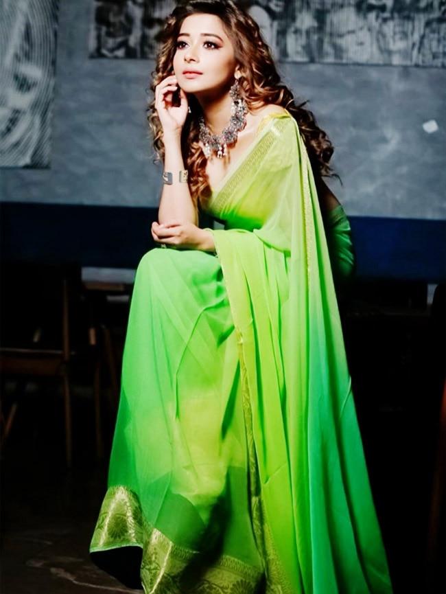 Tina Datta sheer saree