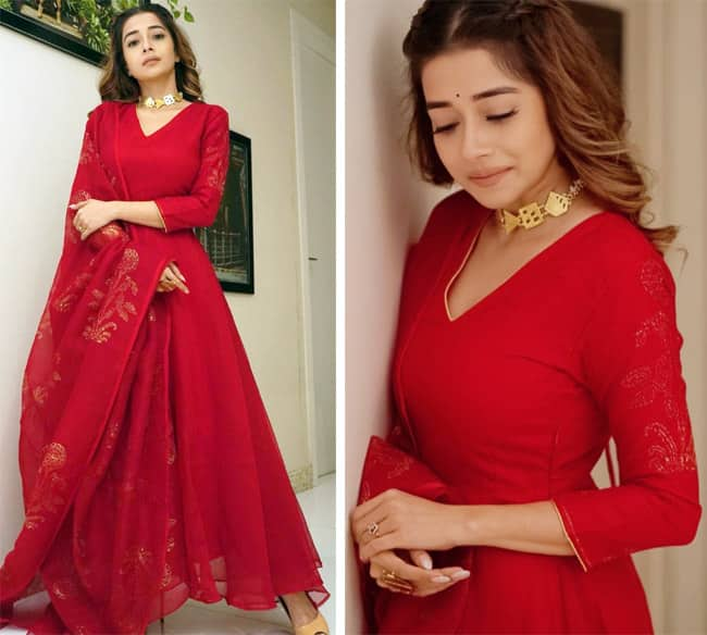 Tina Datta slaying in a deep red Anarkali suit set
