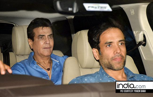 Tusshar Kapoor with father Jeetendra at Hichki screening