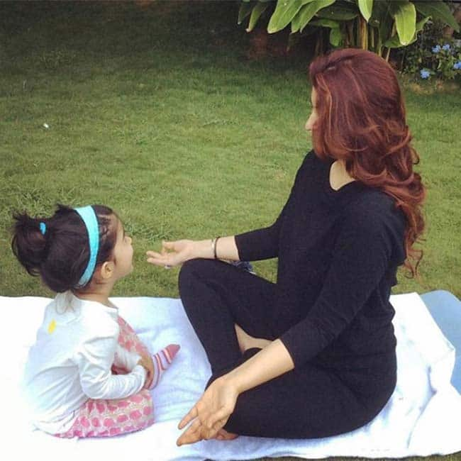Twinkle Khanna and daughter Nitara pose on International Yoga Day