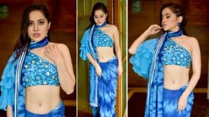 Urfi Javed is Giving Major Hotness Statement in a Blue Fashionable Saree  See Pics