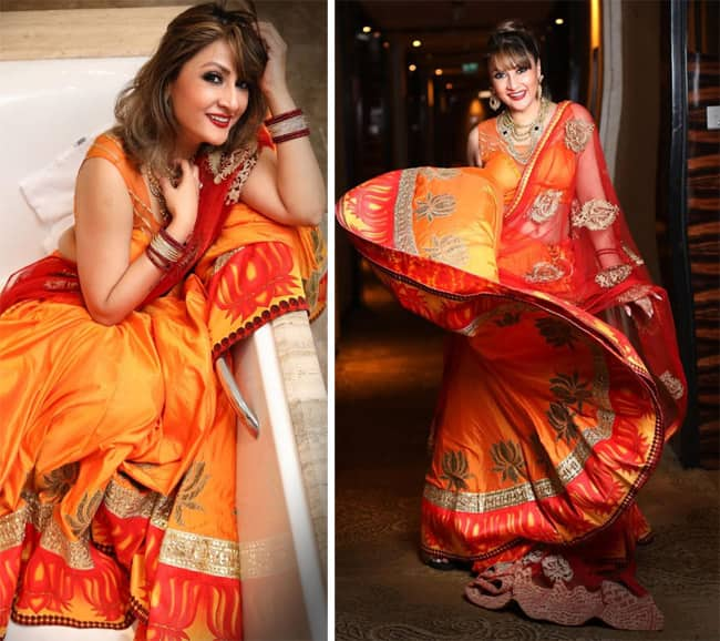 Urvashi Dholakia Poses in a Bathtub in a Yellow Red Lehenga