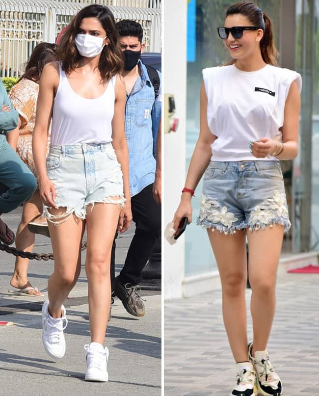 Urvashi Rautela and Deepika Padukone love their denim shorts