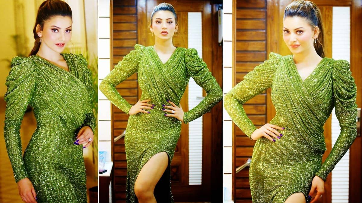 Urvashi Rautela is Bombshell in a Shimmery Green Gown