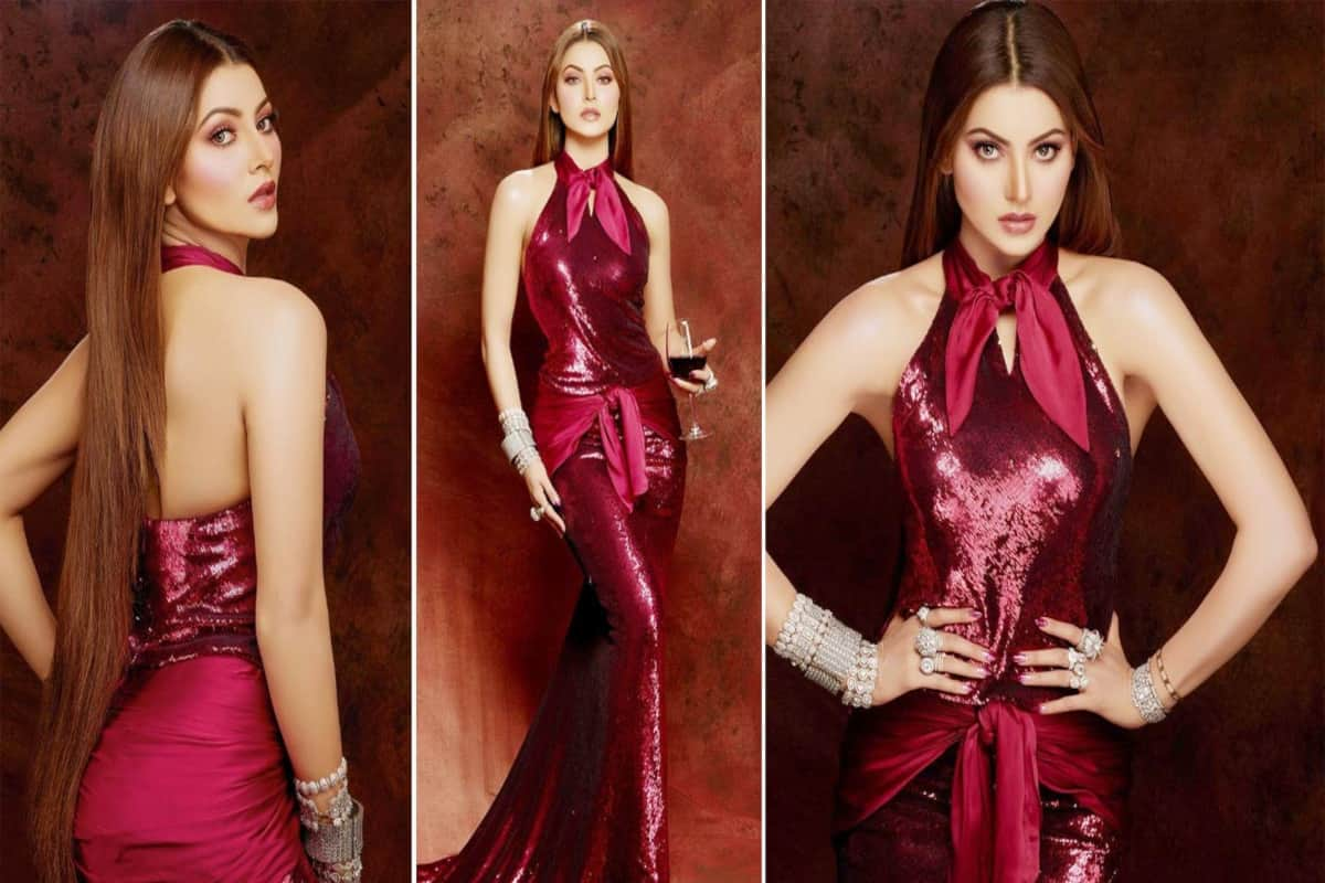 Urvashi Rautela Turns Up The Heat in a Burgundy Sequinned Gown| See Hot Photos