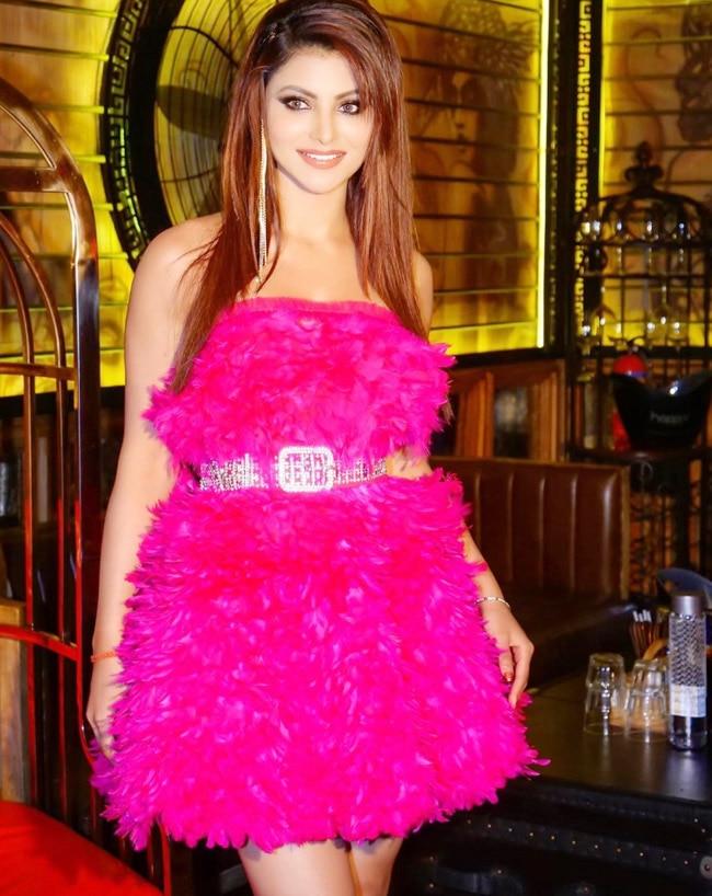 Urvashi Rautela Wears Pink Furry Dress