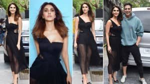 Vaani Kapoor Wears a Sexy Black Off-Shoulder Transparent Dress For Bell Bottom Promotions - See Photos