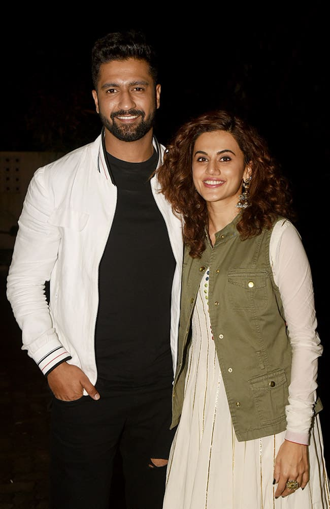 Vicky Kaushal And Taapsee Pannu at special screening of Gali Guleiyan