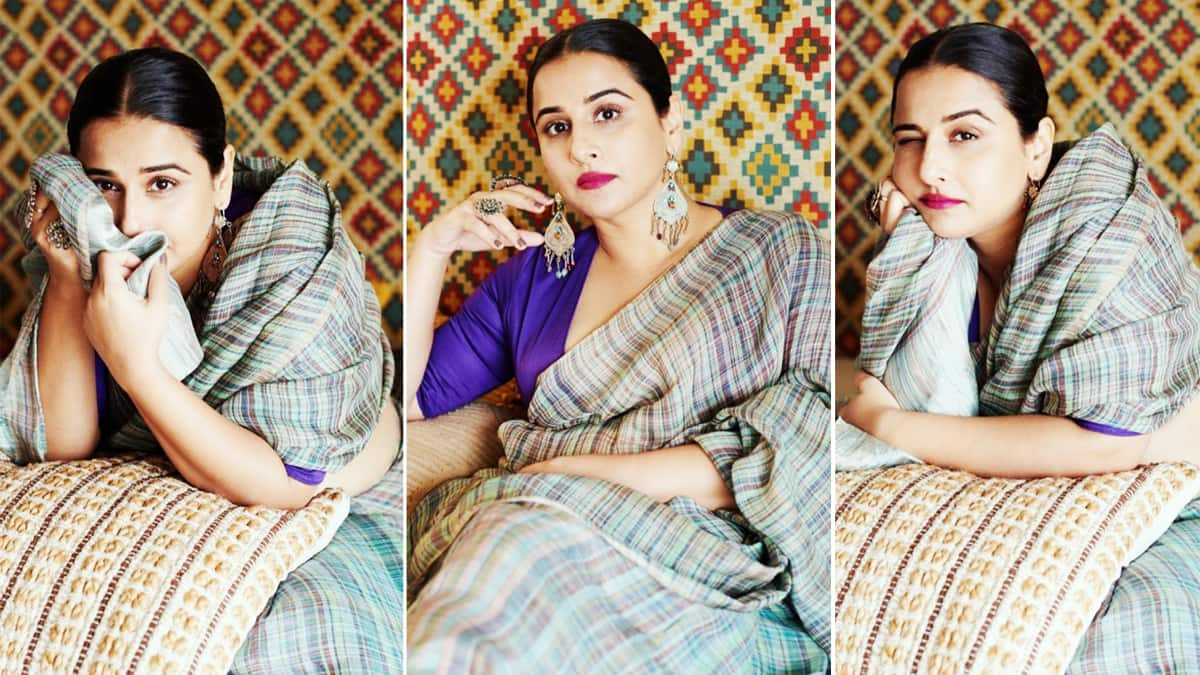 Vidya Balan is so made for sarees  She looks elegant in this pretty linen saree
