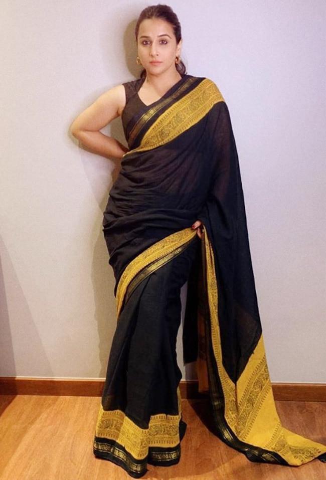 Vidya Balan wearing a black saree