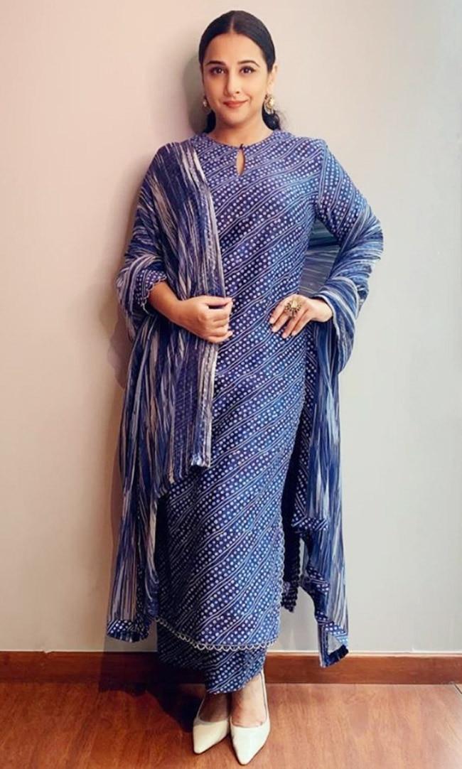 Vidya Balan wearing a blue hand dyed suit