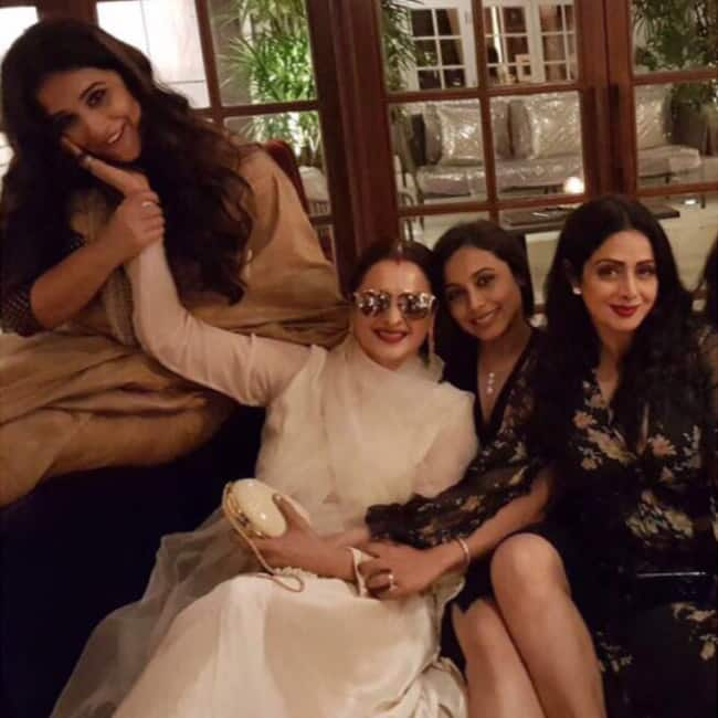 Vidya Balan with Rekha  Rani Mukherji at Sridevi   s birthday bash