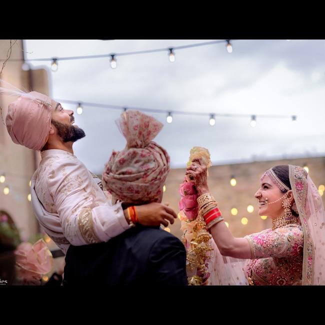 Virat Kohli and Anushka Sharma during their wedding function