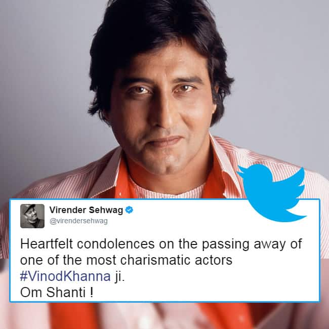 Virender Sehwag expresses condolence on Vinod Khanna   s death