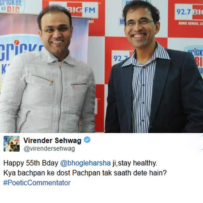 Virender Sehwag wishing Harsha Bhogle on his birthday