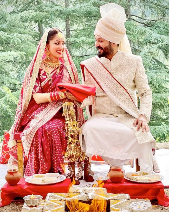 Yami Gautam wore a red silk saree at her wedding with Aditya Dhar