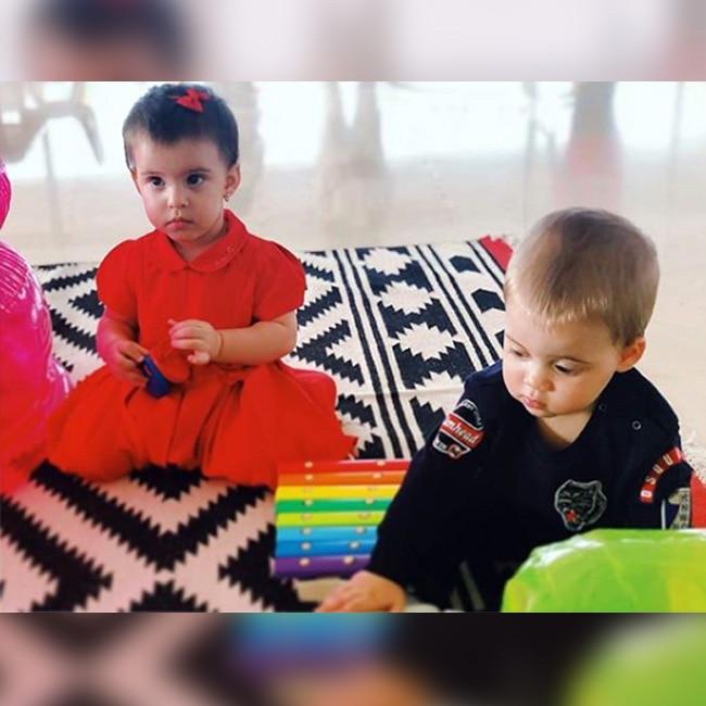 Yash Johar and Roohi Johar on their first birthday bash