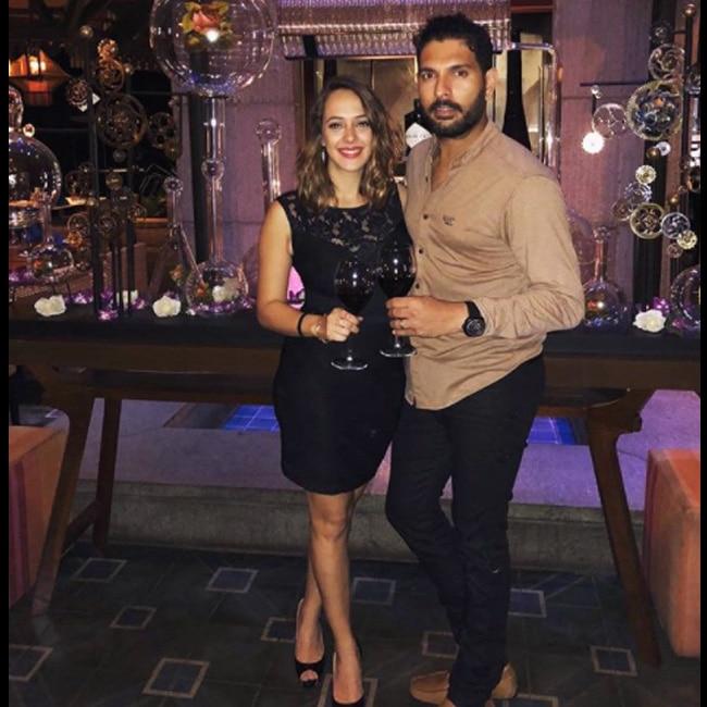 Yuvraj Singh and Hazel Keech on their first anniversary