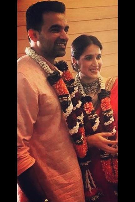 Zaheer Khan with wife Sagarika Ghatge post wedding